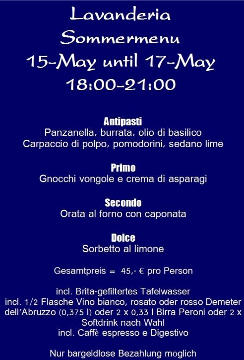 Abendmenu 15-17-May